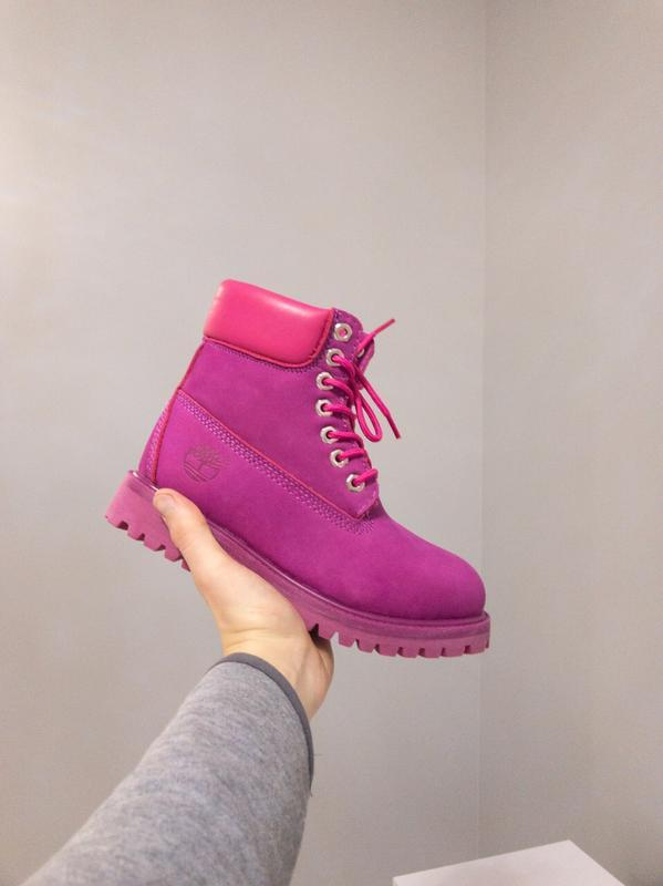 Шикарные женские ботинки timberland малиновый зимние😃(зима)