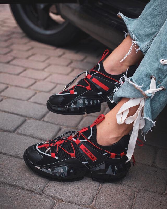 Шикарные женские кроссовки jimmy choo black red чёрные 😃 (весн...