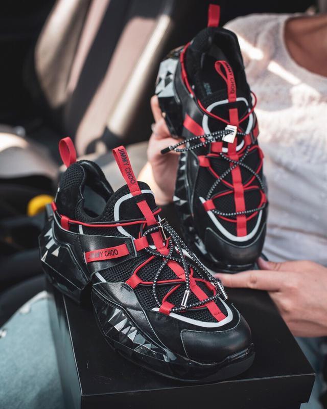 Шикарные женские кроссовки jimmy choo black red чёрные 😃 (весн... - Фото 4