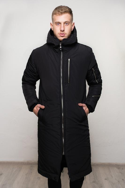 Шикарная мужская удлиненная куртка полностью чёрная зимняя😃{ос...