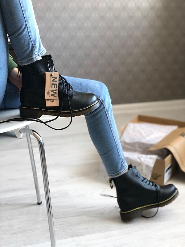 Шикарные мужские ботинки dr. martens 1460 black зимние с мехом...