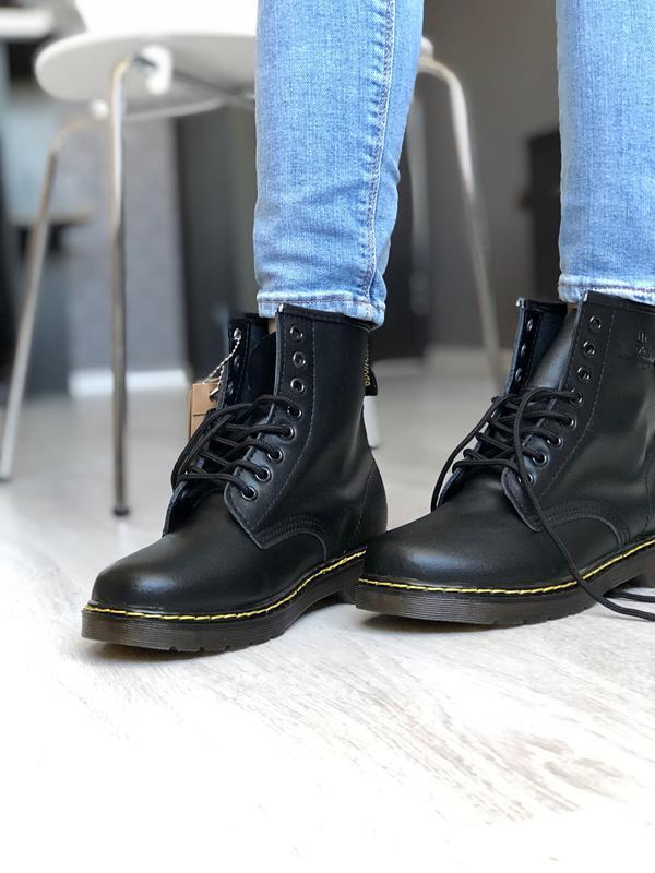 Шикарные женские ботинки dr. martens 1460 black зимние с мехом...