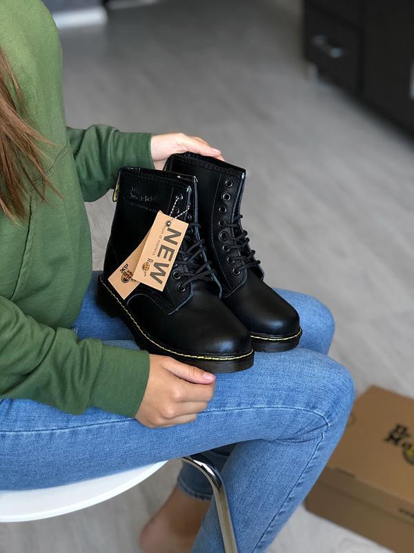 Шикарные женские ботинки dr. martens 1460 black термо 😃(осень ...