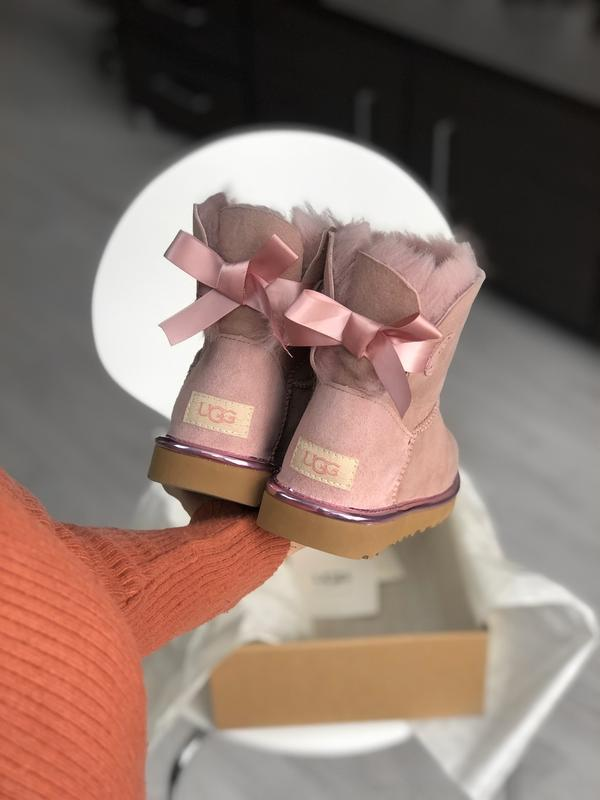 Шикарные женские сапоги угги ugg mini bailey bow dusk pink роз... - Фото 2