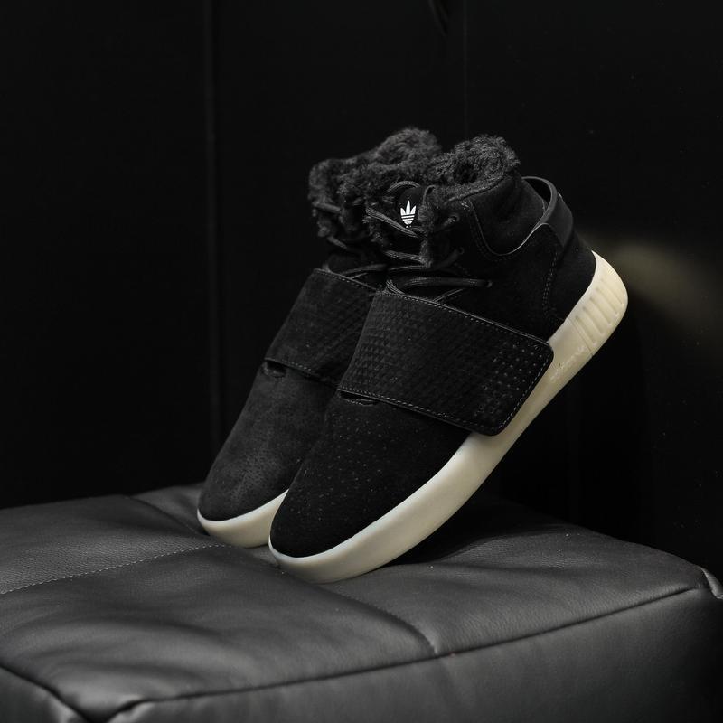 Шикарные женские кроссовки adidas tubular invander black с мех...