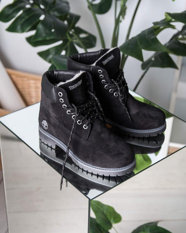 Шикарные женские ботинки timberland black с мехом зимние😃(зима)