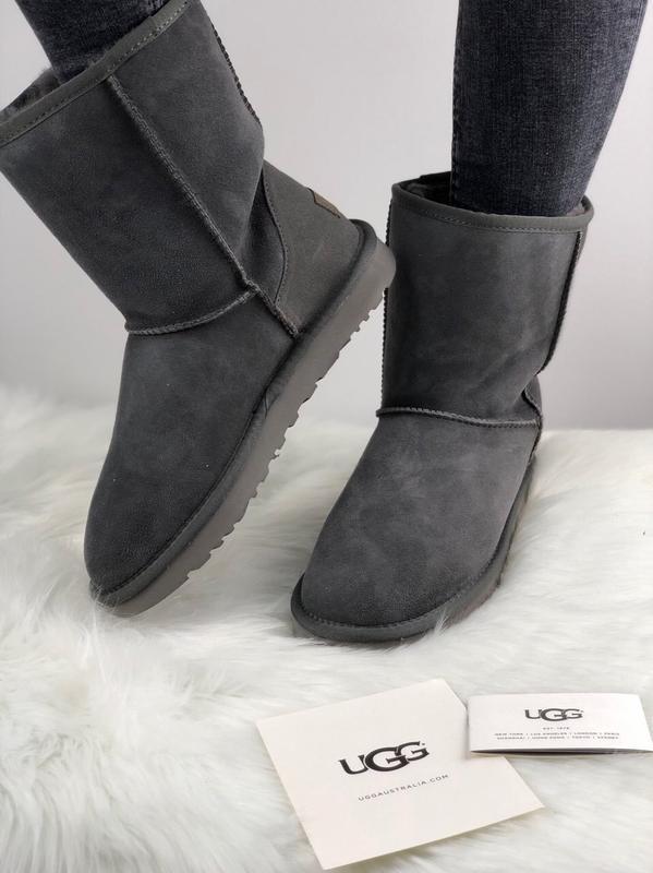Шикарные женские сапоги угги ugg classic short ii boot grey 😃(...