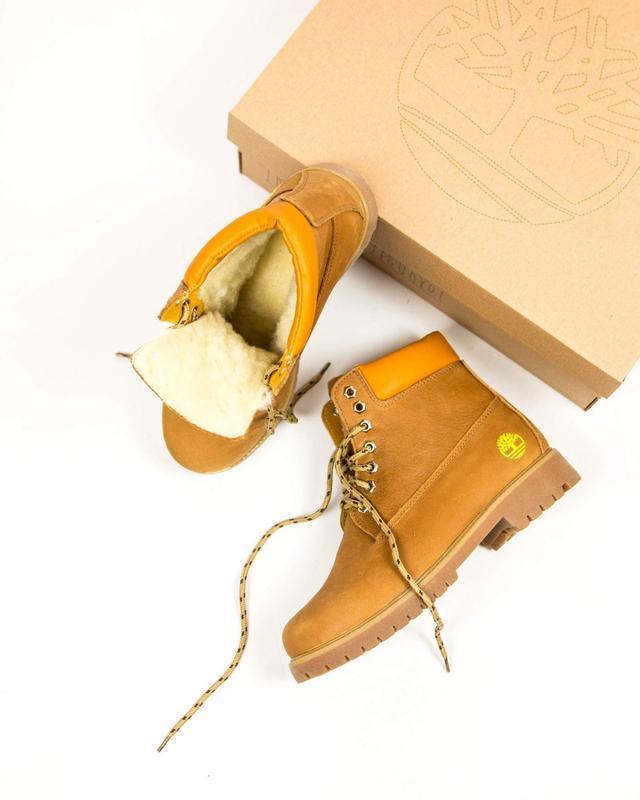 Шикарные женские ботинки timberland оранжевые с мехом зимние 😃...