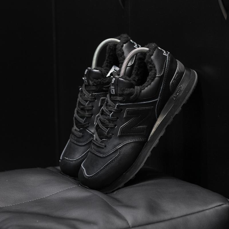 Шикарные мужские кроссовки new balance 574 black чёрные с мехо...