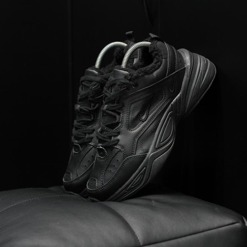 Шикарные женские кроссовки nike m2k tekno black с мехом зимние...