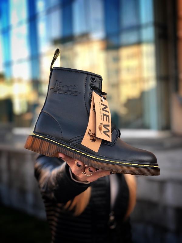 Шикарные женские ботинки dr. martens 1460 black с мехом зимние...