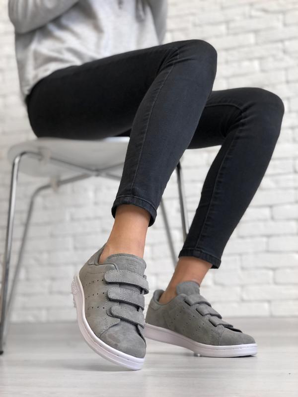 Шикарные женские кроссовки adidas stan smith grey серые😃 (весн...