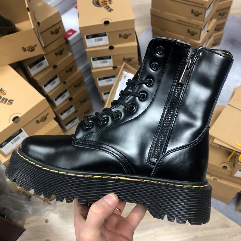 Шикарные женские ботинки dr. martens jadon с мехом чёрные высо...
