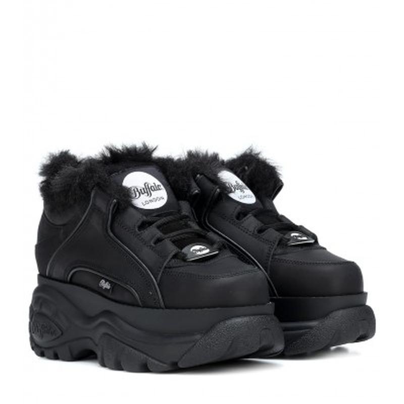 Шикарные женские кроссовки buffalo london black чёрные с мехом...