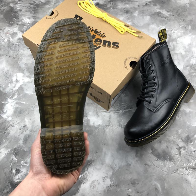 Шикарные женские ботинки dr. martens 1460 black с мехом зимние... - Фото 2