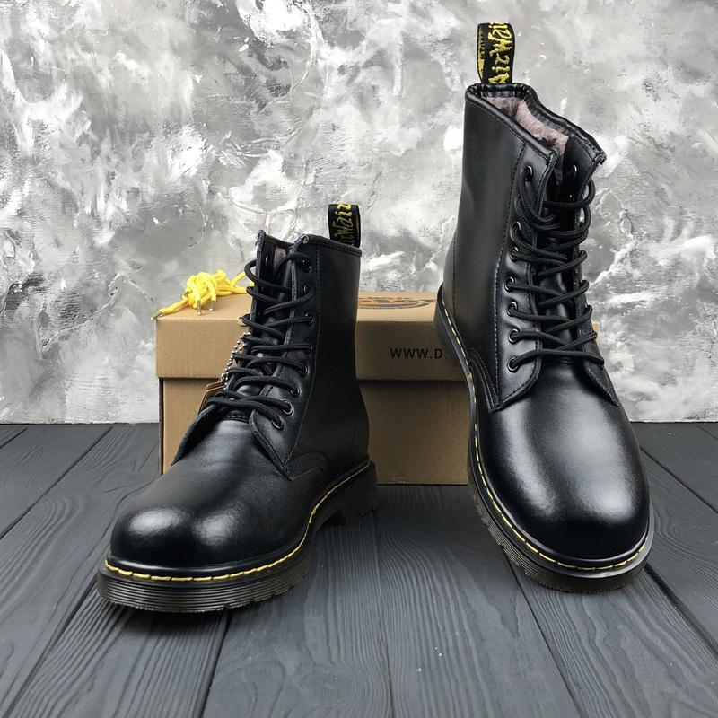 Шикарные женские ботинки dr. martens 1460 black с мехом зимние... - Фото 3
