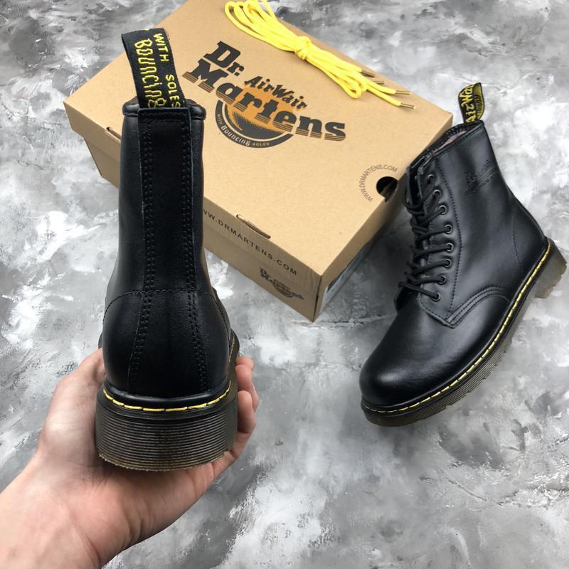 Шикарные женские ботинки dr. martens 1460 black с мехом зимние... - Фото 4
