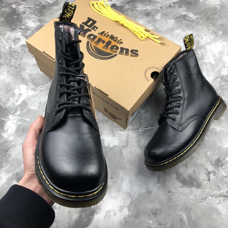 Шикарные женские ботинки dr. martens 1460 black с мехом зимние... - Фото 5