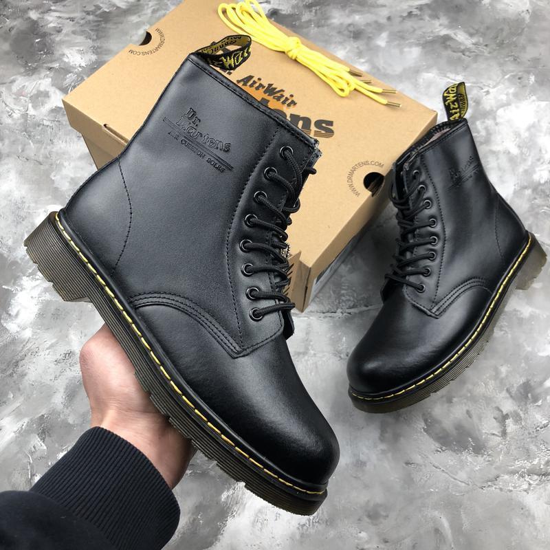 Шикарные женские ботинки dr. martens 1460 black с мехом зимние... - Фото 6