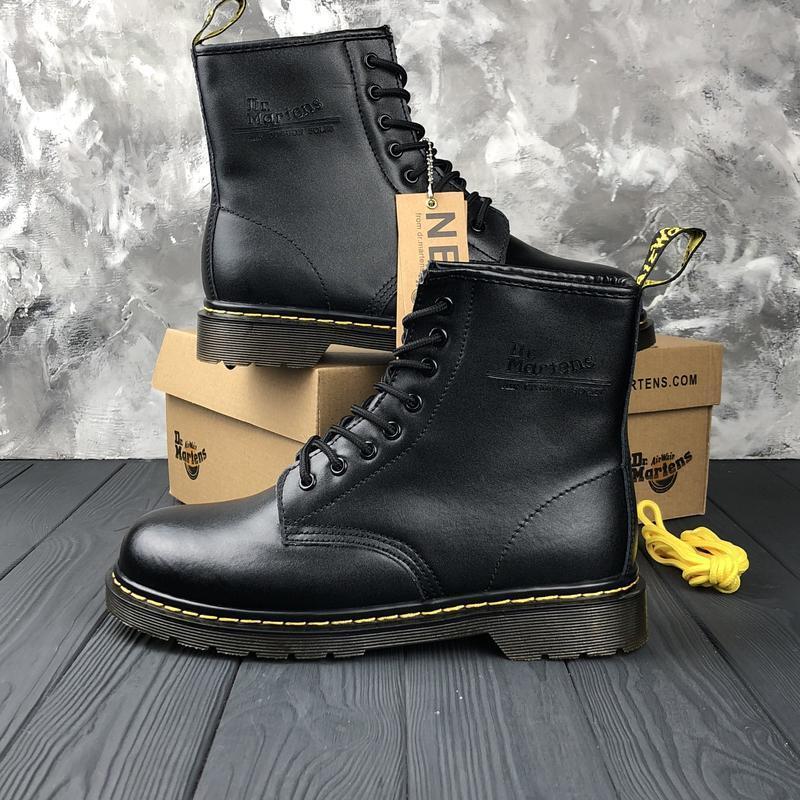 Шикарные женские ботинки dr. martens 1460 black с мехом зимние... - Фото 7
