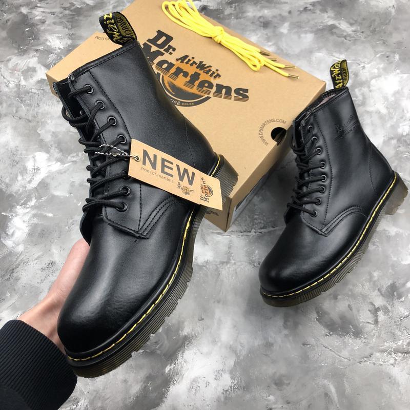 Шикарные женские ботинки dr. martens 1460 black с мехом зимние... - Фото 8