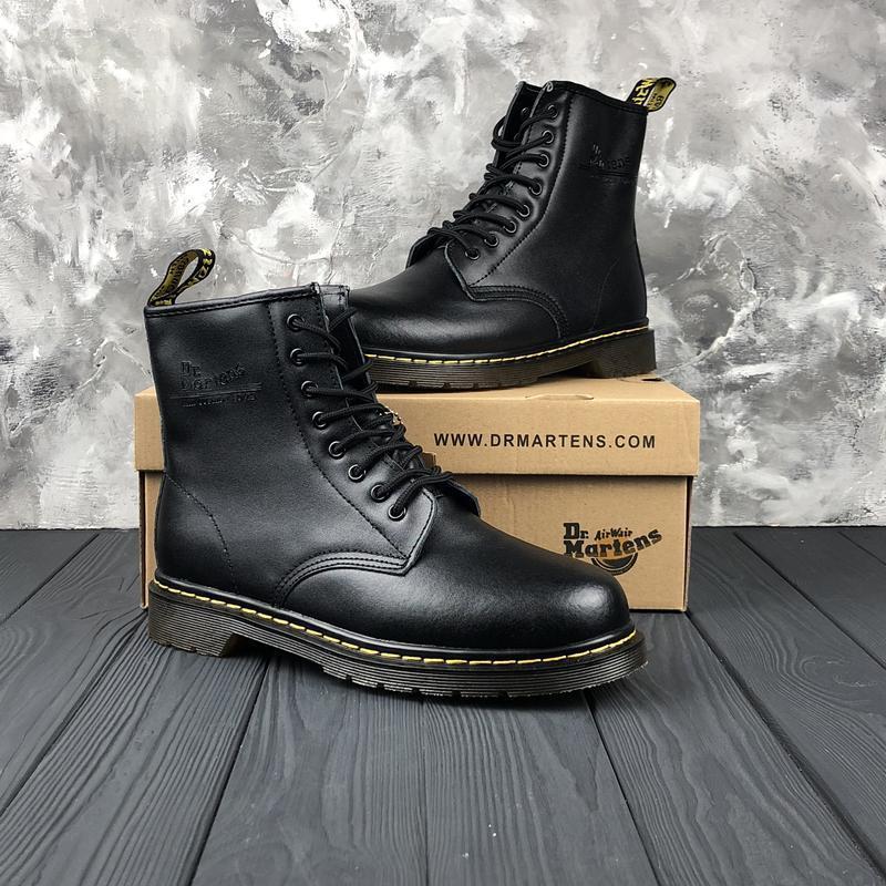 Шикарные мужские ботинки dr. martens 1460 black с мехом зимние...
