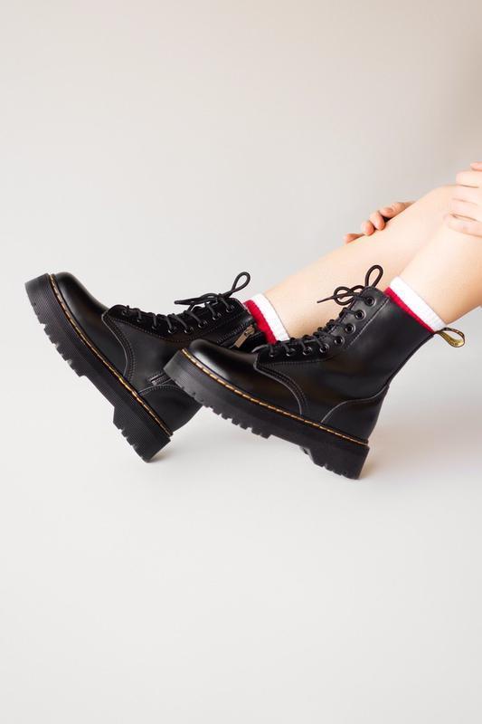 Шикарные женские ботинки dr. martens jadon black термо 😃 (осен...
