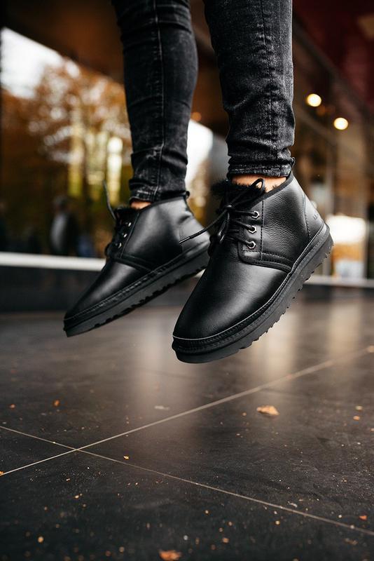 Шикарные мужские сапоги угги ugg neumel leather black чёрные 😃...