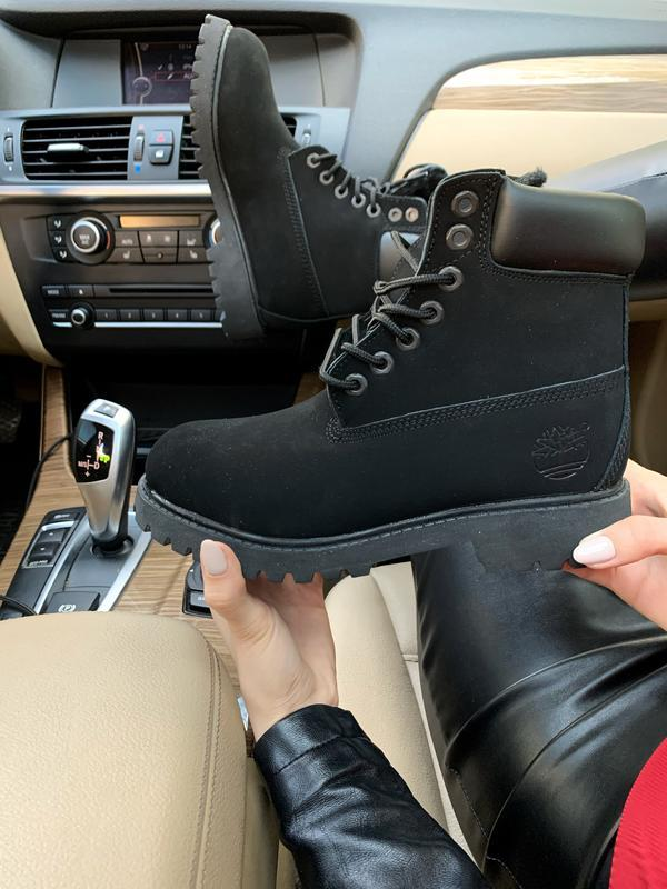 Шикарные женские ботинки timberland black fury с мехом чёрные ...