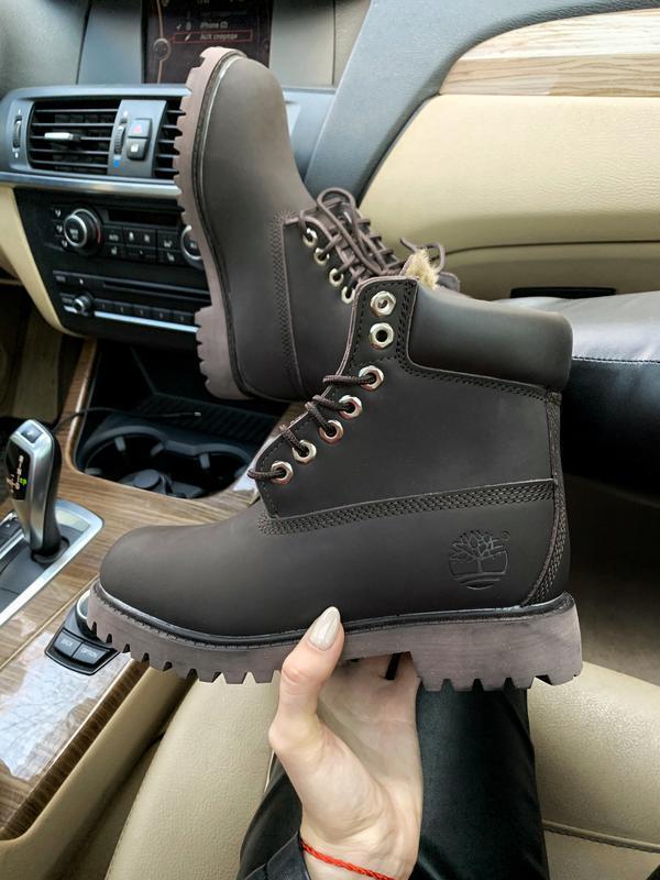 Шикарные женские ботинки timberland brown fury с мехом чёрные ...