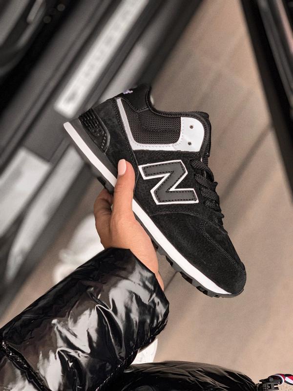 Шикарные женские кроссовки new balance 574 black с мехом зимни...
