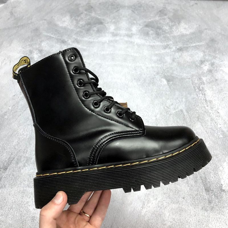 Шикарные женские ботинки dr. martens jadon black высокие с мех...