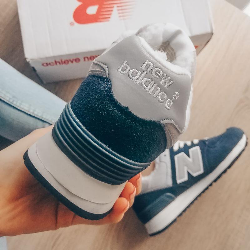 Шикарные женские кроссовки new balance 574 blue зимние с мехом... - Фото 6