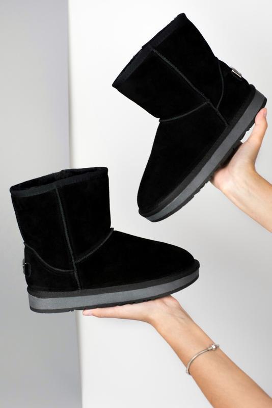 Ugg classic ii mini black чёрные шикарные женские сапоги угги ...