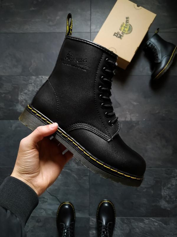 Dr. martens 1460 black шикарные женские ботинки с мехом зимние...