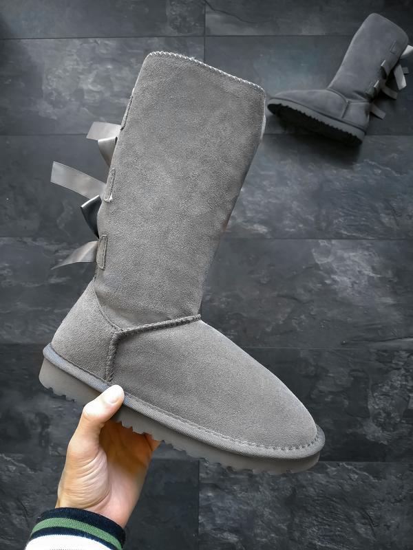 Ugg bailey bow ii boot серые шикарные женские сапоги угги с ме...
