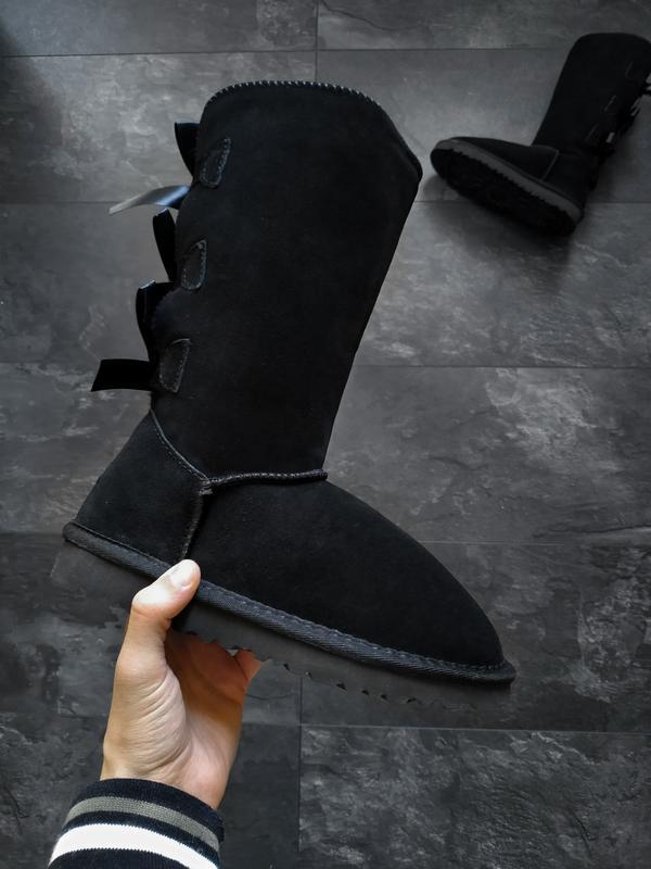 Ugg bailey bow ii boot чёрные шикарные женские сапоги угги с м...