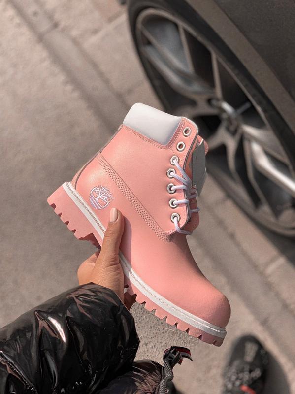 Timberland pink розовые ботинки женские без меха термо подклад...