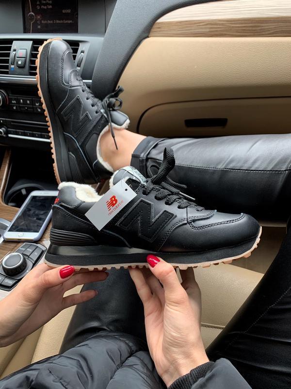 New balance 574 black fur шикарные мужские кроссовки с мехом ч...