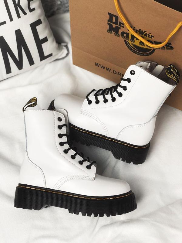 Dr martens jadon white шикарные женские ботинки с мехом зимние...
