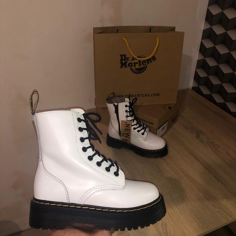 Dr. martens jadon white шикарные женские ботинки с мехом зимни...
