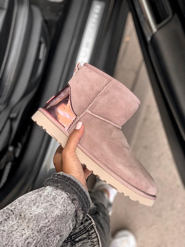 Ugg mini 2 classic pink розовые шикарные женские сапоги ботинк...