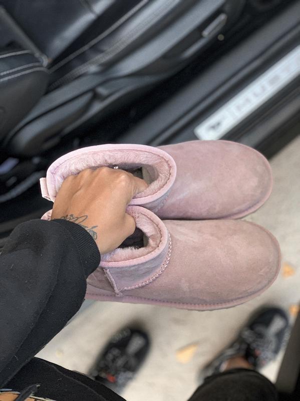 Ugg classic mini pink розовые низкие шикарные женские сапоги б... - Фото 2