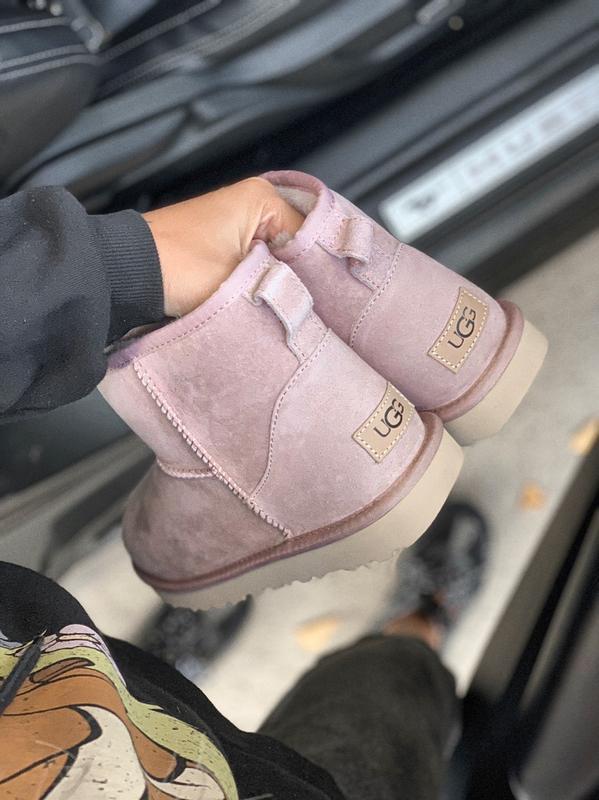Ugg classic mini pink розовые низкие шикарные женские сапоги б... - Фото 4