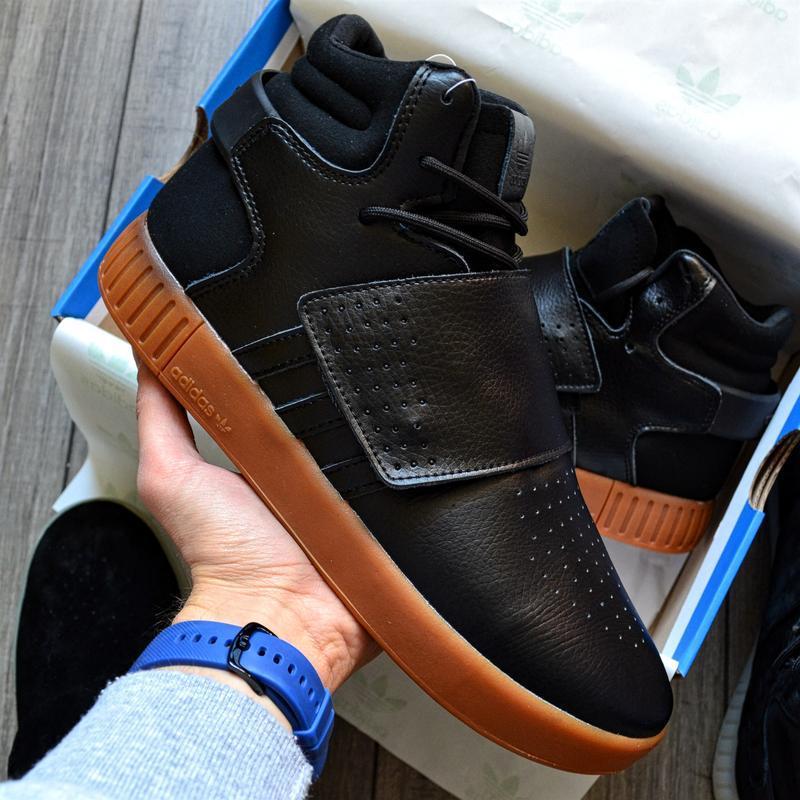 Adidas tubular invader black gum шикарные мужские кроссовки ос...