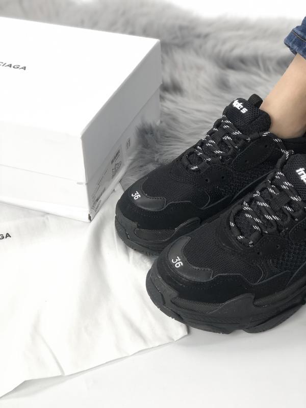 Balenciaga triple s black шикарные женские кроссовки чёрные ве... - Фото 4