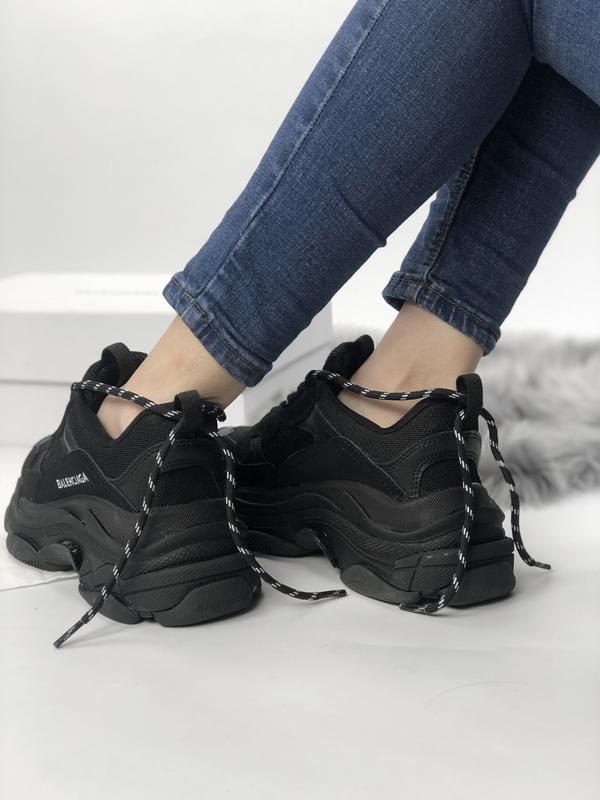 Balenciaga triple s black шикарные женские кроссовки чёрные ве... - Фото 8