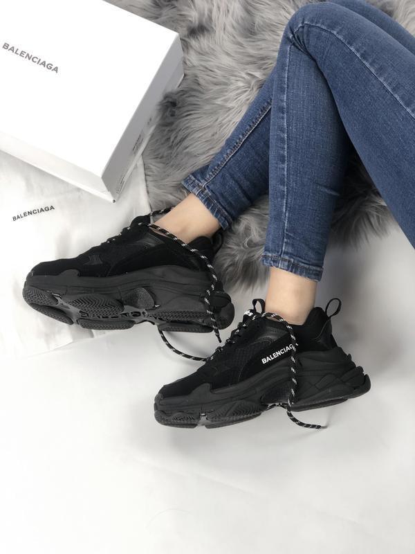 Balenciaga triple s black шикарные женские кроссовки чёрные ве... - Фото 9