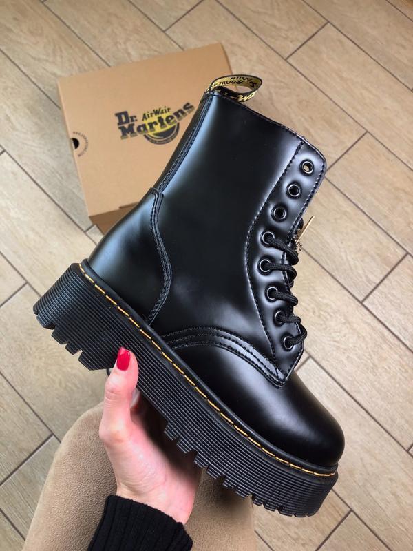 Dr. martens jadon black with fur шикарные женские ботинки на з...