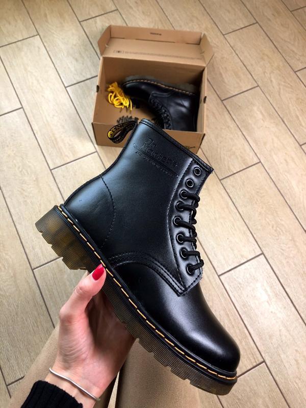 Dr. martens 1460 black чёрные с мехом зимние ботинки теплые зима